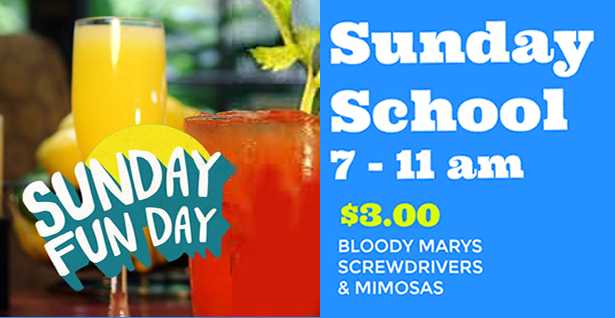 """Sunday School"" Specials At The Lorelei - $3.00 Bloody Marys, Screwdrivers and Mimosas Every Sunday from 7 am until 11 am"
