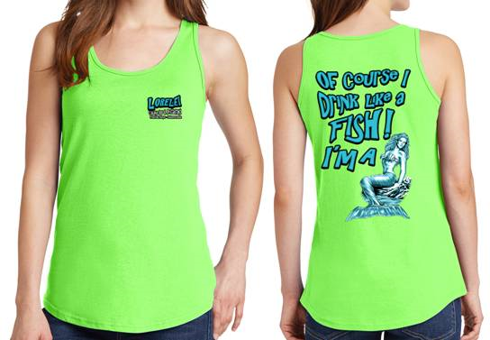 Drink Like A Fish Mermaid Tank In Neon Green